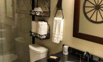 The bathroom comes stocked with towels, shampoo and soap